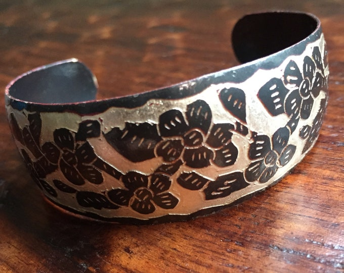 Handcrafted Hammered Copper with Silver Adjustable Cuff Bracelet with Flower Relief Pattern