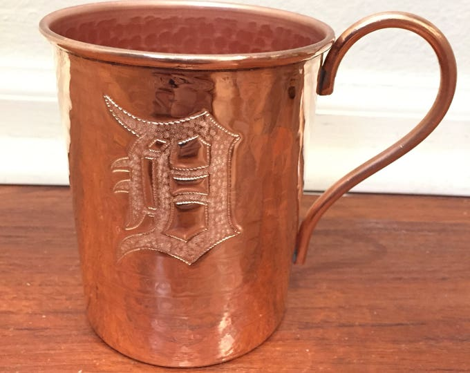 "18oz Moscow Mule Hammered Copper Mug w/ Old English Detroit ""D"" logo"