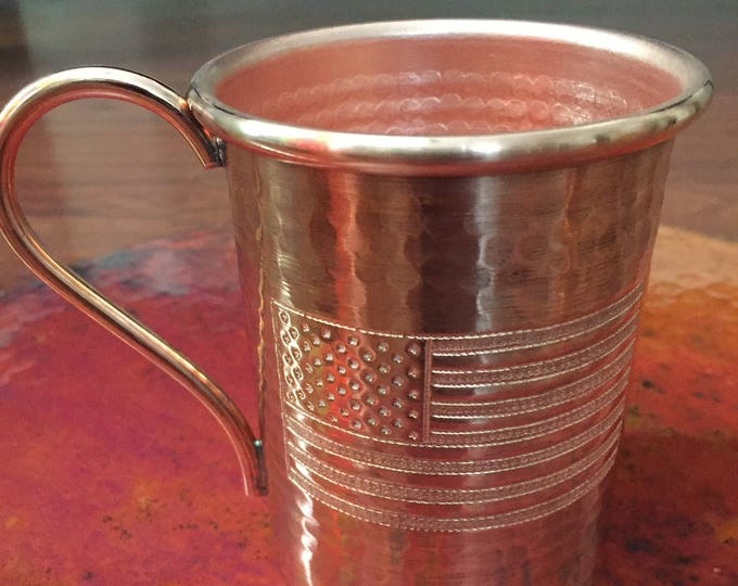 16oz Moscow Mule Hammered Copper Mug w/ USA Flag engraved logo