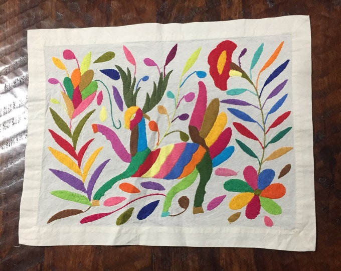 """Hand embroidered Otomí placemat (approx. 17"""" x 13"""") - multicolor animal and flowers"""
