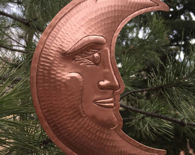 """Handcrafted Pure Hammered Copper Hanging Crescent  Moon 9""""x 7"""""""