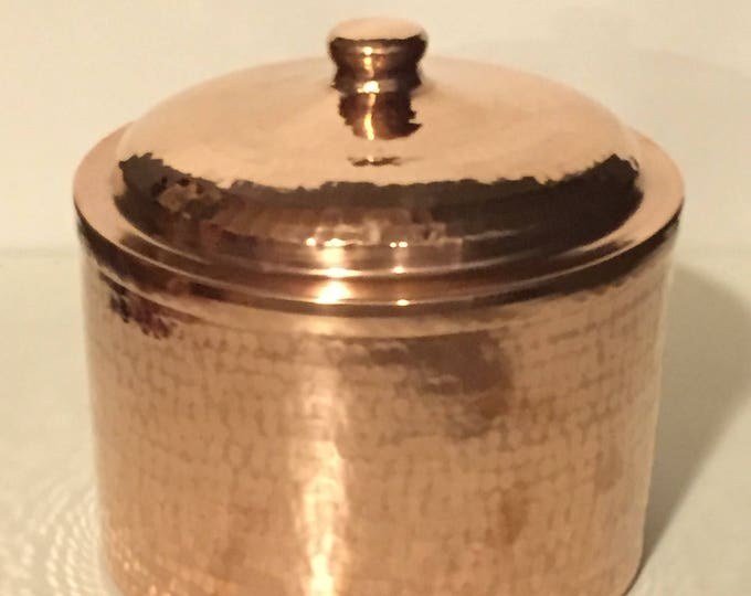"Hammered Copper Canister with Lid (6""x6"")"