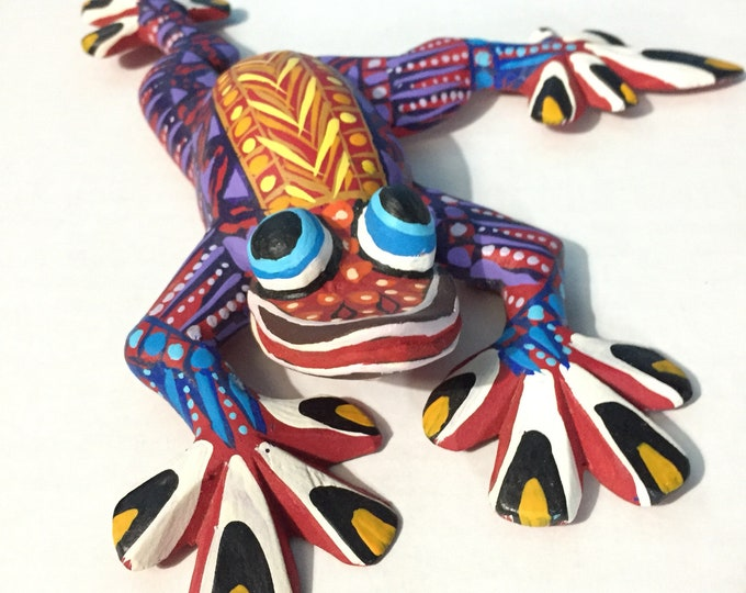 Alebrije Frog Handcrafted Wood Carving by Zeny Fuentes & Reyna Piña from Oaxaca, Mexico.
