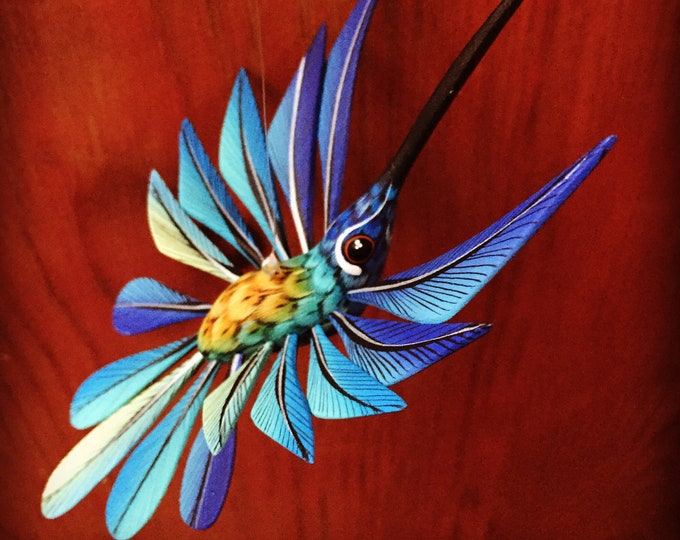 Alebrije Blue Hummingbird by Zeny and Reyna Fuentes