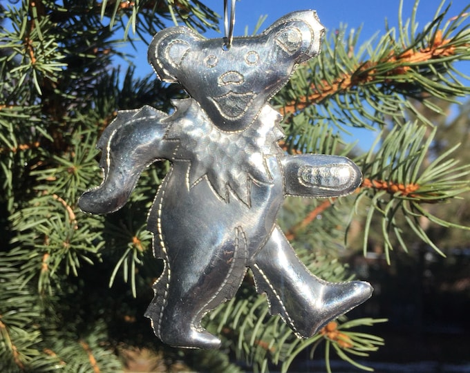 Handcrafted Hammered Polished Aluminum Dancing Bear Christmas Tree Ornament