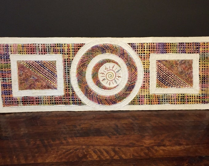 """Ámate Paper art with sun and moon design by Efrain Daza (47"""" x 15 1/2"""")"""