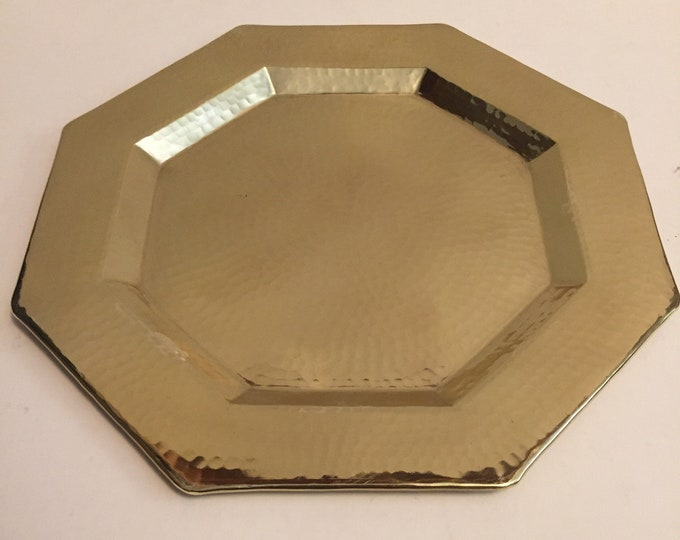 Hammered Brass Octagonal Serving Tray