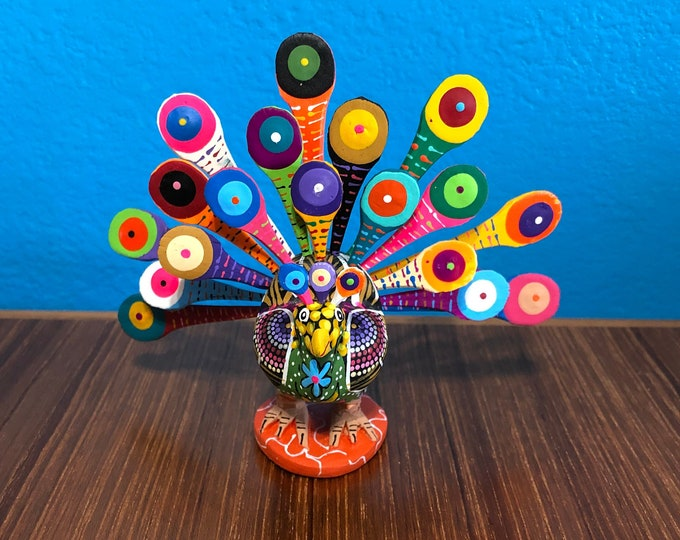 Alebrije Peacock Handcrafted Wood Carving by Reyna Peña from Oaxaca, Mexico.