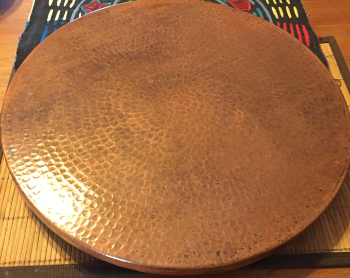 "Hammered Copper Lazy Susan rotating serving tray (16"" diameter)"