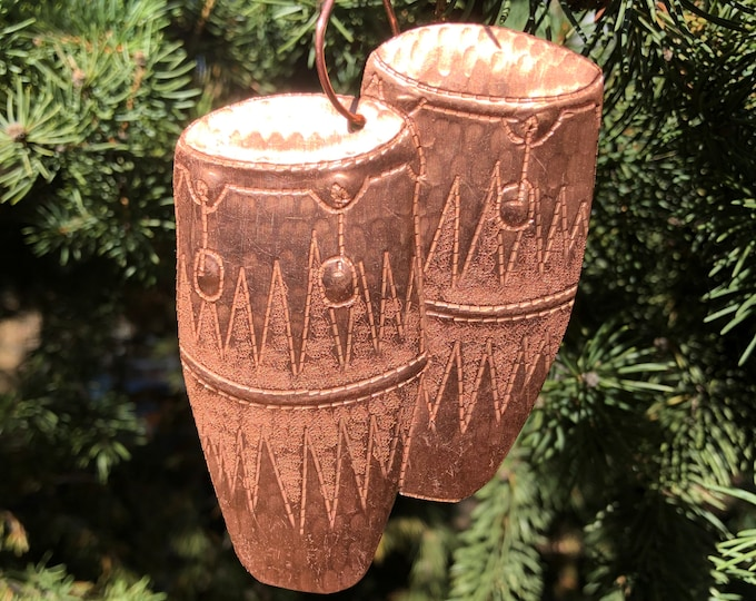 Handcrafted Pure Hammered Copper Conga Drums Christmas Tree Ornament