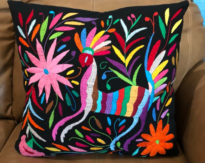 """Otomi hand embroidered 17"""" x 16"""" pillow case with animal and flower design"""