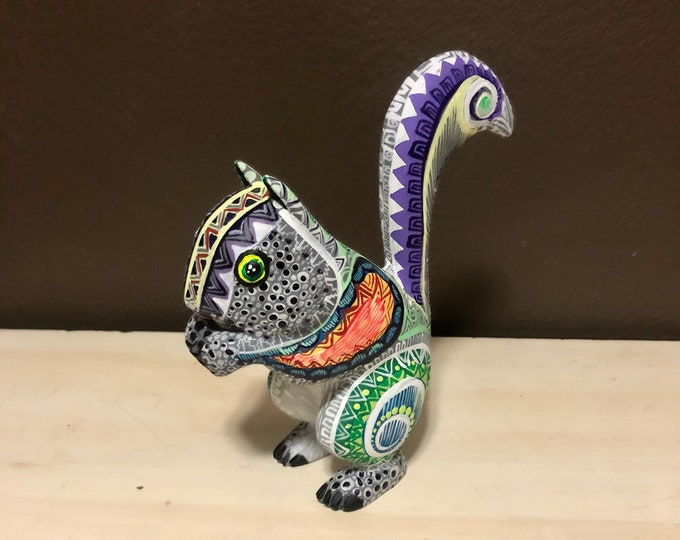 Alebrije Squirrel Handcrafted Wood Carving from Oaxaca, Mexico