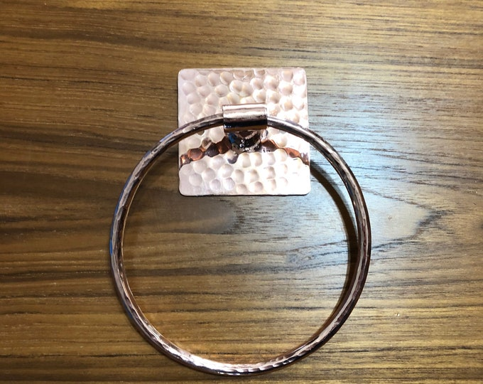 "Handcrafted hammered copper 5"" towel ring"
