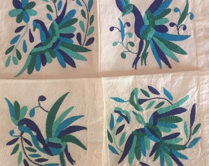 "Set of 4 Otomi hand embroidered 19"" x 19"" muslin napkins with multi color blue birds"