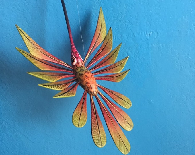 Alebrije Olive Green and Red Hummingbird by Roberto and Esperanza Martinez