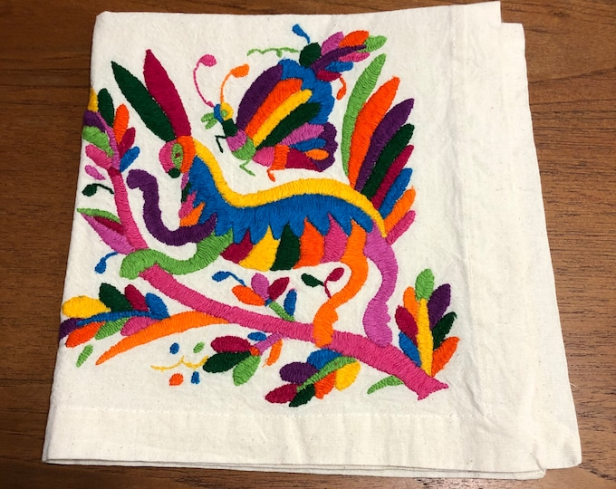 "Otomi hand embroidered 19"" x 19"" muslin napkin with spirit animal and butterfly- multi-colored"