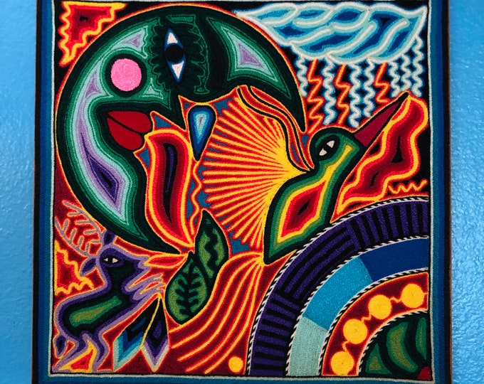"Huichol Yarn Painting from Nayarit, Mexico (11.75"" x 11.75"")"