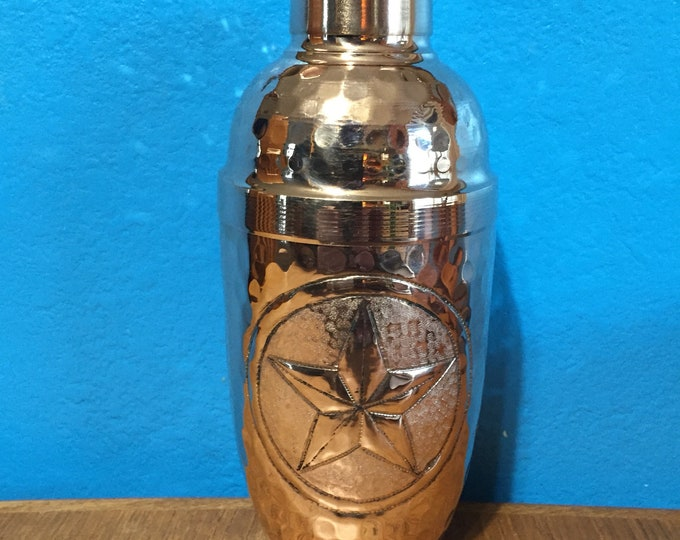 Pure Hammered Copper Cocktail Shaker with Texas Star engraving