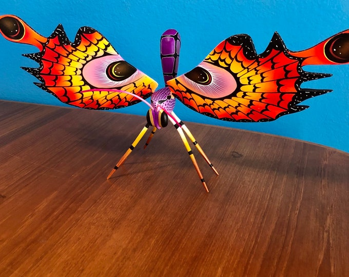 Alebrije Butterfly Handcrafted Wood Carving by Zeny Fuentes & Reyna Piña from Oaxaca, Mexico.