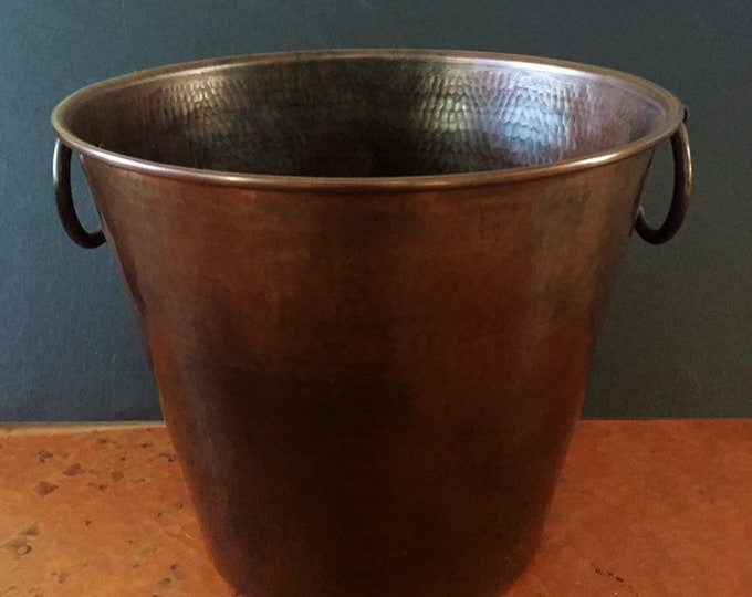 "Hammered Copper Brown Patina wine bottle chiller / ice bucket (10 1/2"" diameter)"