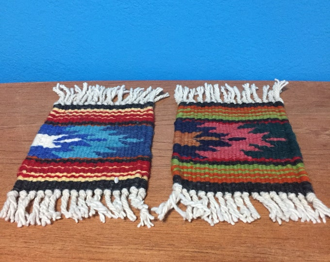 Purhépecha hand woven wool coasters - set of two