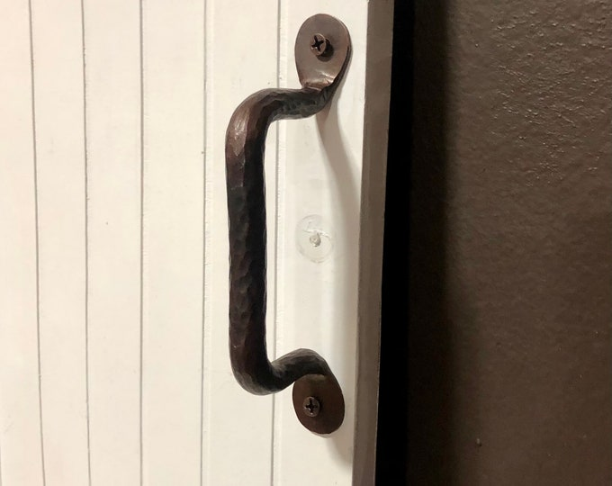 "4 3/4"" Center to Center Brown Patina Hammered Copper Cabinet / Drawer Pull Handle."