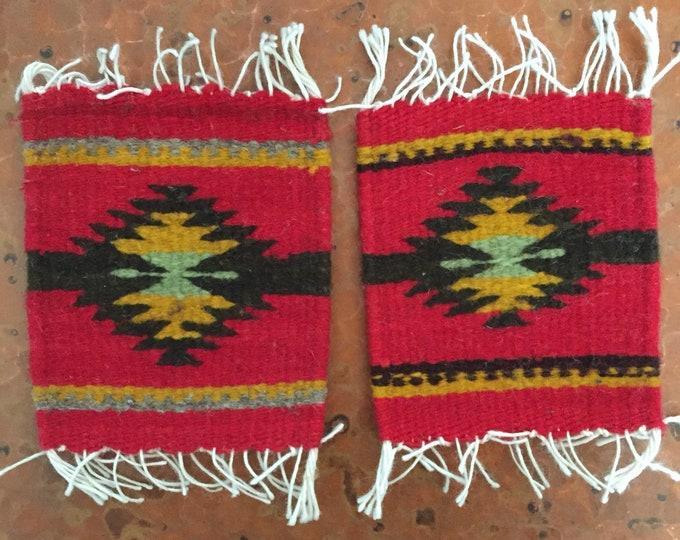 "Zapotec hand woven merino wool coasters - set of two (5 1/2"" x 5"")"