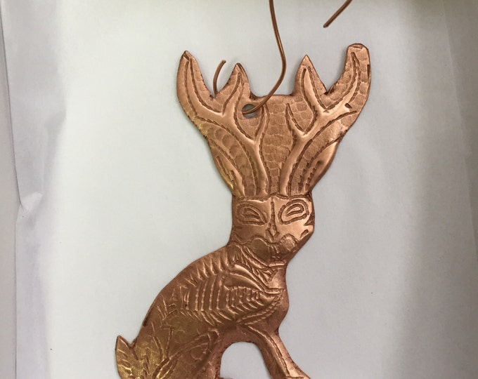Handcrafted Pure Hammered Copper Jackalope Ornament