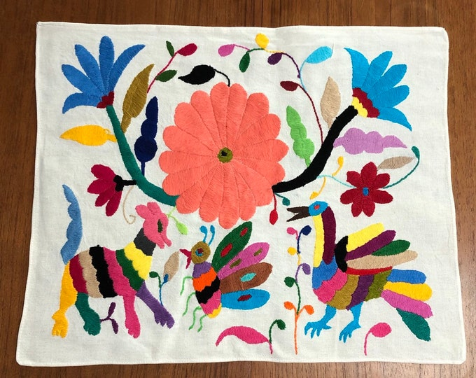 "Hand embroidered Otomí placemat (approx. 17"" x 13"") - multi-color"