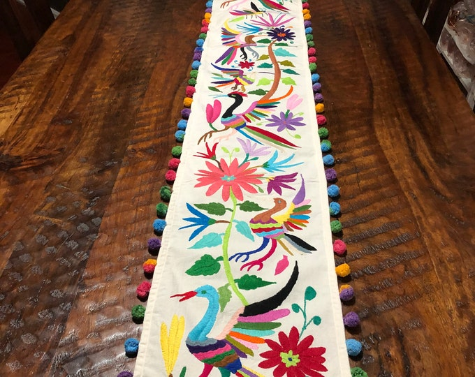 "Otomi Hand Embroidered Table Runner / Bed Scarf /  Partial Coverlet with Multi-color Embroidery (approx. 71"" x 10"")"