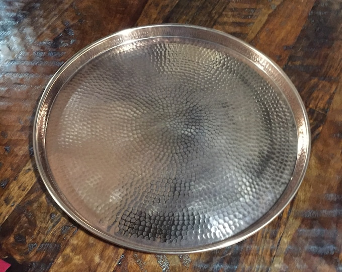 """Handcrafted Round Hammered Copper Serving Tray - 17"""" diameter x 1"""" tall, Table Tray"""