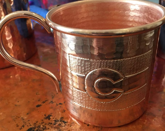 12oz Handcrafted Moscow Mule Pure Copper Hammered Mug w/ Colorado Flag logo