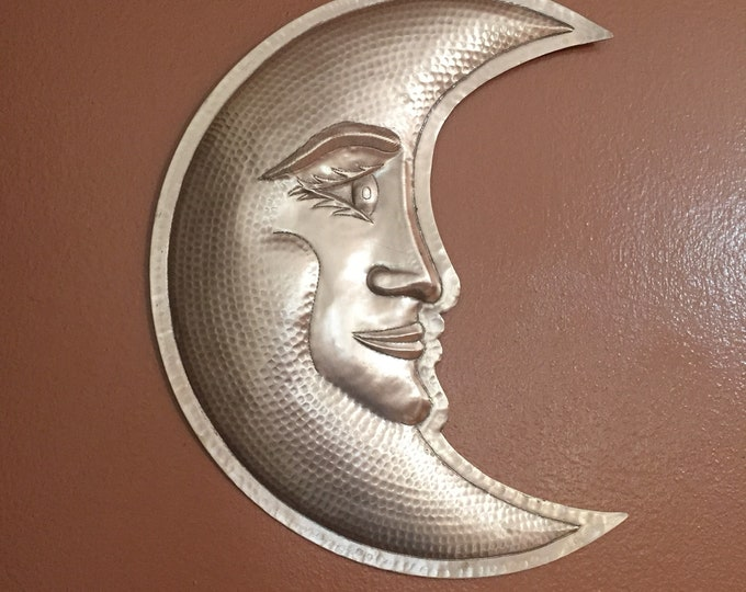 "Handcrafted hammered copper 16"" smiling crescent moon wall decor"