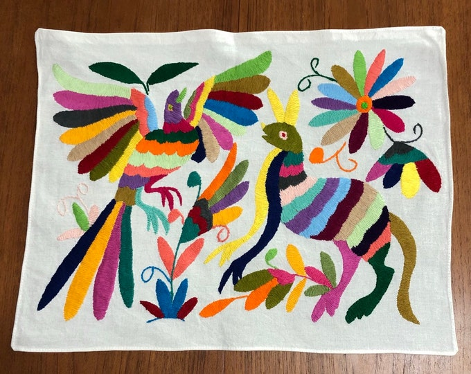 """Hand embroidered Otomí placemat/frame-able art (approx. 17"""" x 13"""") - multicolor spirit animals, insects and flowers."""