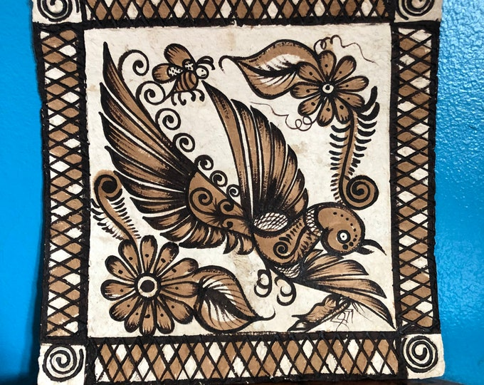 Handmade Amate Paper Wall Art with Bird and Bee from Mexico