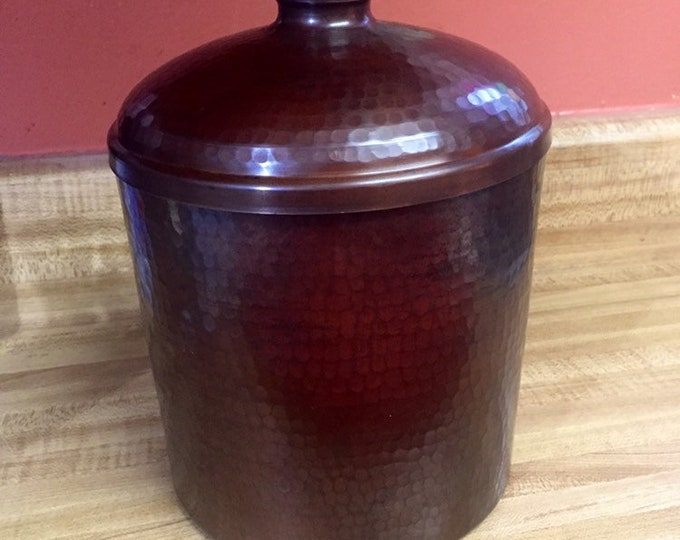 """Hammered Copper Brown Patina Canister with Lid (8""""x6"""")"""