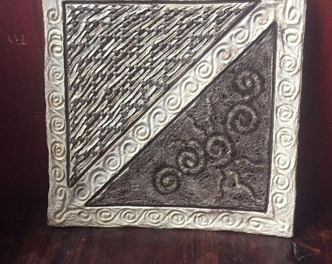 Handmade Amate Paper Wall Art with woven lace design