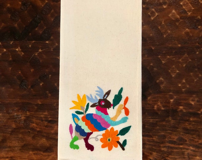 """Otomi hand embroidered muslin napkin with multicolor spirit animal 24"""" x 16"""""""