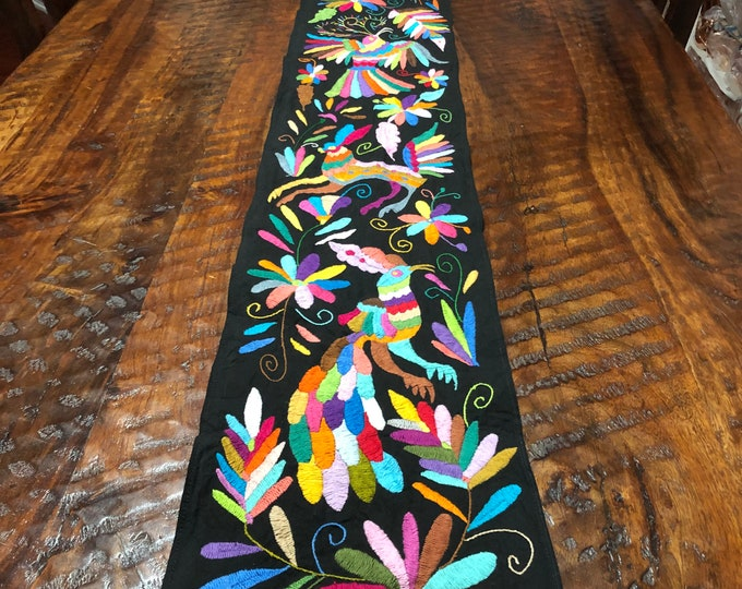 """Otomi Hand Embroidered Table Runner / Bed Scarf / Partial Coverlet with Multi-color Embroidery on Multicolor Fabric (approx. 69"""" x 9"""")"""