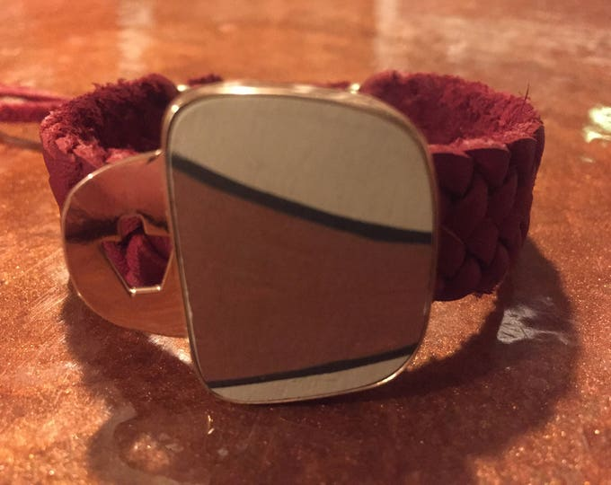 One of a Kind Mata Ortiz Leather Bracelet -decorative pottery shard set in Copper with red leather band