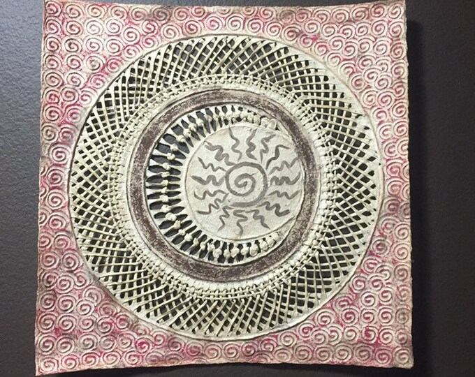 """Amate Bark Paper Wall Art with woven sun and moon design (15 1/2"""" x 15 1/2"""")"""