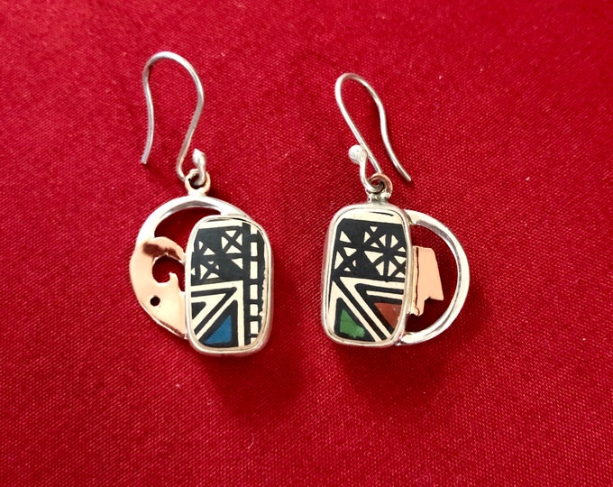 One of a Kind Mata Ortiz Earrings - unique pottery shards set in .950 silver and pure copper handcrafted settings