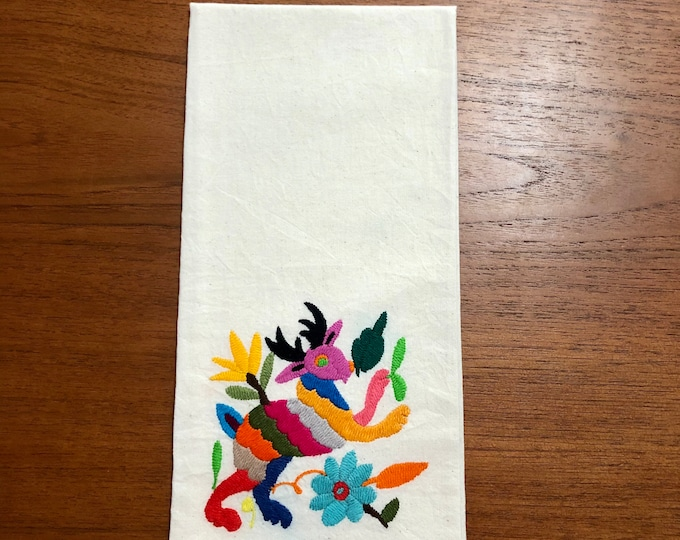 "Otomi hand embroidered muslin napkin with multicolor spirit animal 24"" x 16"""