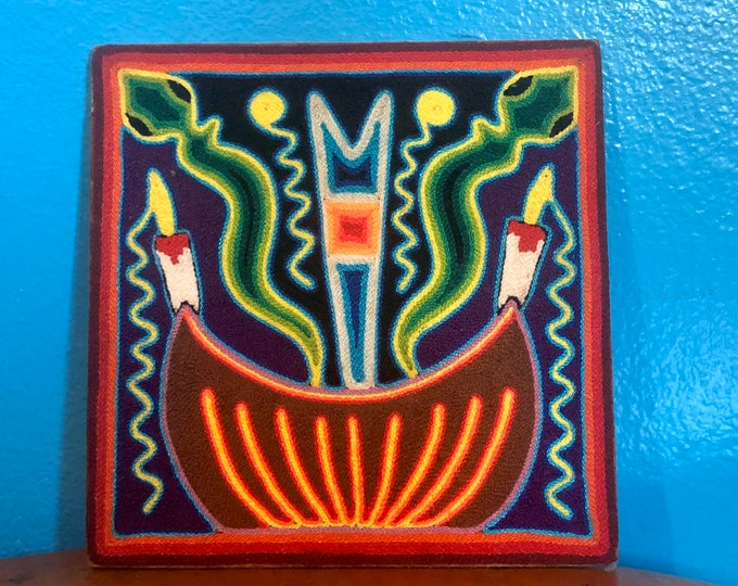 "Huichol Yarn Art 8"" x 8"" - Sacred Offerings from Nayarit, Mexico"
