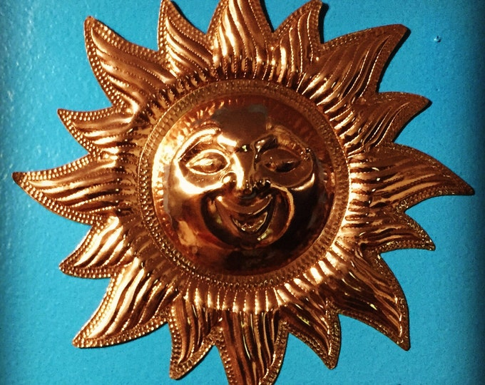 """Handcrafted Pure Hammered Copper Sun 12"""" Diameter"""
