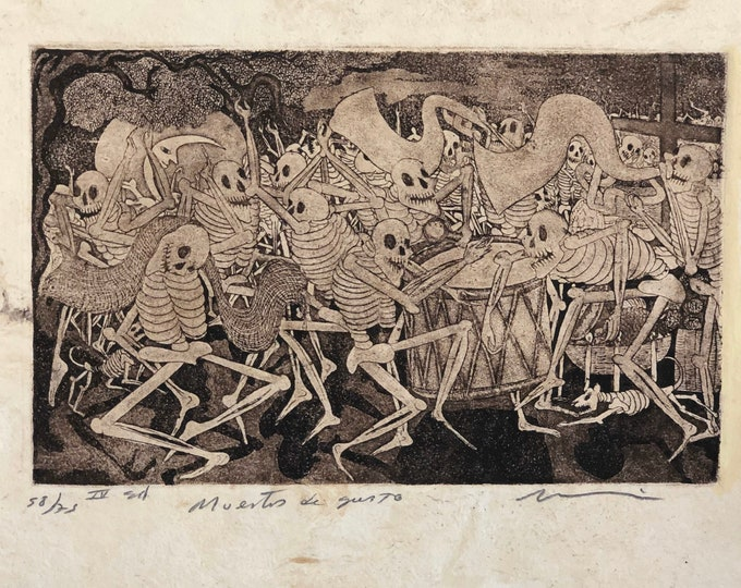 Muertos de Gusto by Nicolas de Jesus. Limited Edition Aquatint print on Amate bark paper.