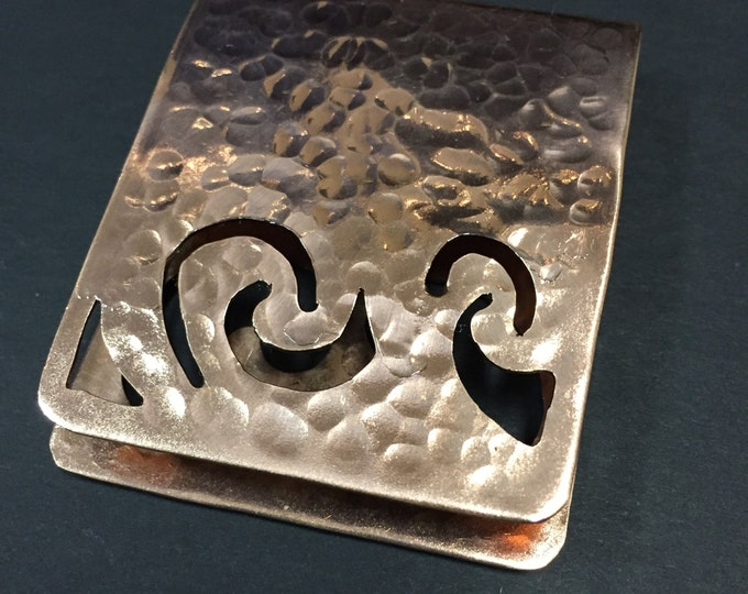 Pure Hammered Copper Money Clip