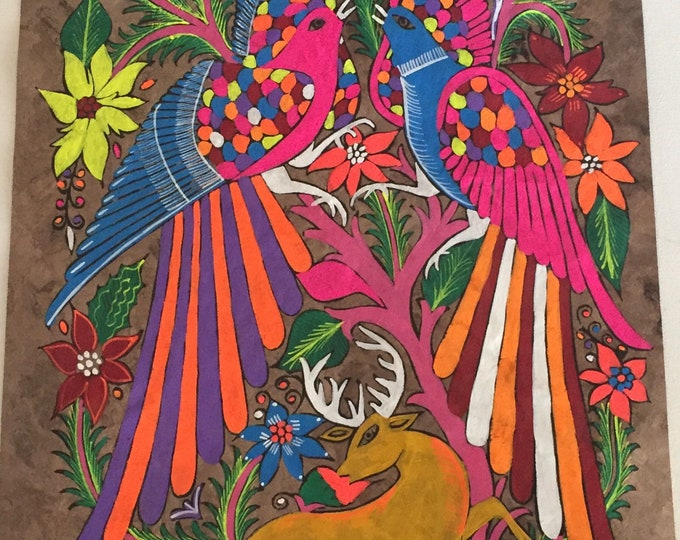 Multicolor Birds Painting on Amate Paper