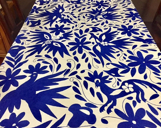 Large Otomí hand embroidered tablecloth / bedspread / coverlet (approx. 6' x 6') - Blue