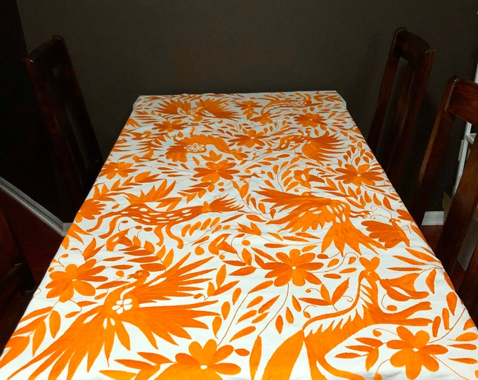 Large Otomí hand embroidered tablecloth / bedspread / frame-able art with orange embroidery (approx. 6' x 6')
